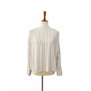 Free People Striped Mock Neck Top White XS